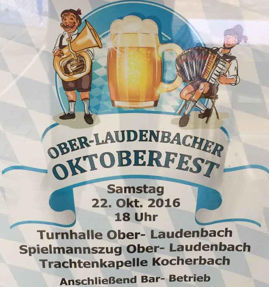 Plakat vom Oktoberfest in Ober-Laudenbach